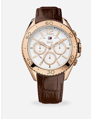 Relógio masculino Tommy Hilfiger com pulseira de couro marrom