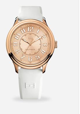 Relógio feminino Tommy Hilfiger com pulseira de silicone branco